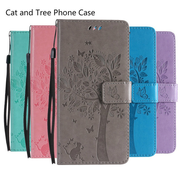 Fashion 3D Tree Cat Embossing Case Wallet Flip PU Leather Magnetic Stand  Shockproof Phone Cases For Q6 /Q8 /G7 / Aristo 2 X210MA/Tribute Dynasty/K8