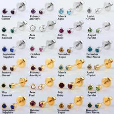 16gearcartilagepiercing, Gemstone Earrings, gold, Stud Earring