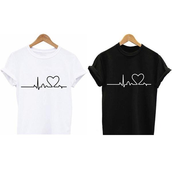 Heartbeat Love Printed T-shirts Harajuku Casual Short Sleeve Short Sleeve YAB