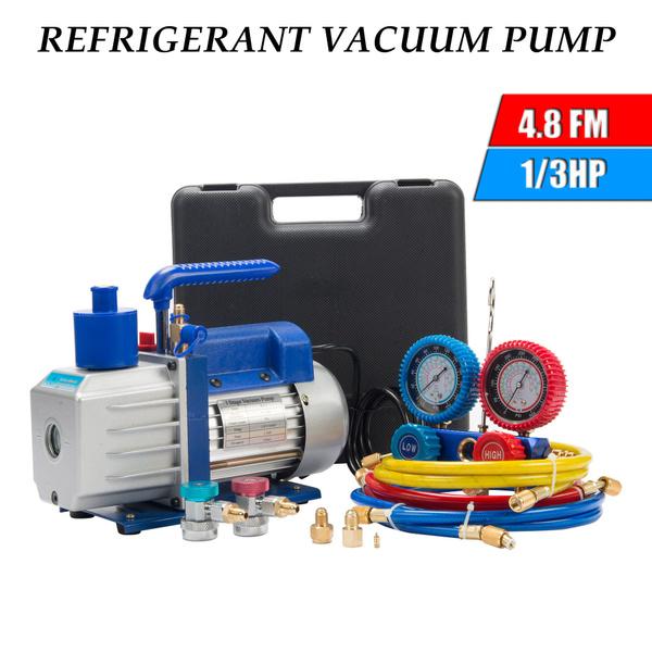 R410A R134A R22 4 8 CFM Vacuum Pump HVAC A/C Refrigerant W/4Valve Manifold  Gauge