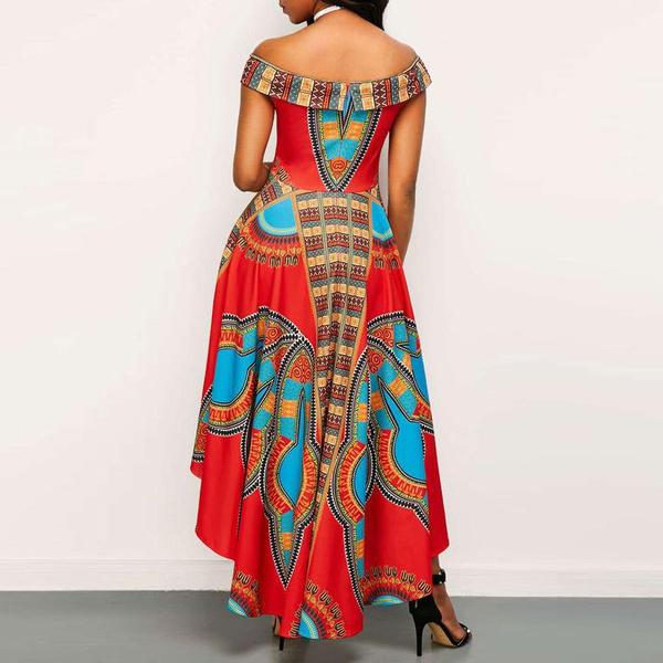Wish Womens African Print Dashiki Dress Slash Neck A Line Skirt