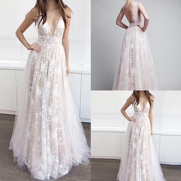 Vestido De Noiva 2018 Deep V Neck Boho Wedding Dress Plus Size Brautkleid  Bride Dress Lace Bohemian Prom Dresses Backless Dress Bridesmaid dress
