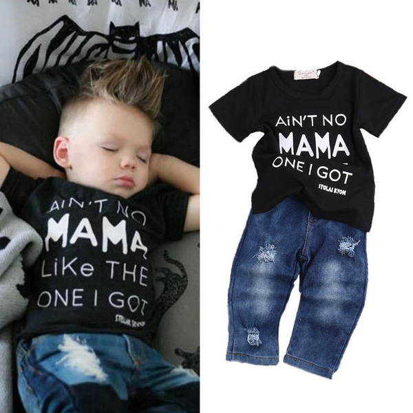 bbe7603dd 2pcs Newborn Toddler Kids Baby Boy Clothes T Shirt Tops+Denim Pants ...