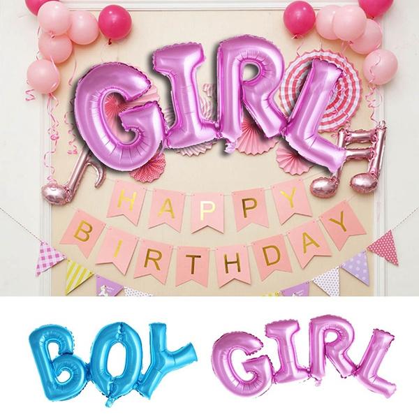 Letter Boy//Girl Foil Balloon Gender Reveal Baby Shower Birthday Party Decoration