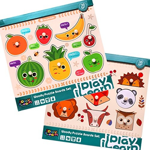 Kids Wooden Peg Puzzles, Fruit Animals Shapes Knob Board, Learning Jigsaw,  Preschool Gift, Educational, Early Development Toys for 1, 2, 3, 4 Year