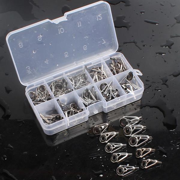 80Pcs 1#-10# Stainless Steel Fishing Rod Tip Ring Eye Guide Repair Kit /& Box