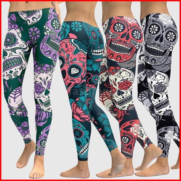 cd6ffa44023e7 Fashion Size Slimming Yoga Skull High Elastic Gym Leggings Floral ...