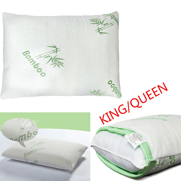 Bamboo Memory Foam Bed Pillow Queen Size Hypoallergenic Cool Comfort