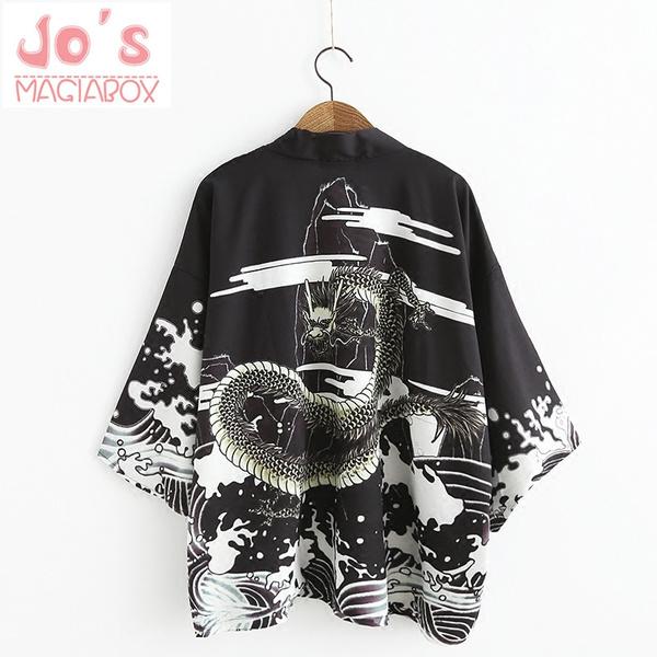 d4d3f05d62f Dragon Japanese Kimono Cardigan Female Sexy Kawaii Long Jacket Silk Blouse  Women Shirt