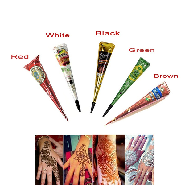 d0185ba39 Colored henna cone indian henna tattoo stickers temporary tattoo ...