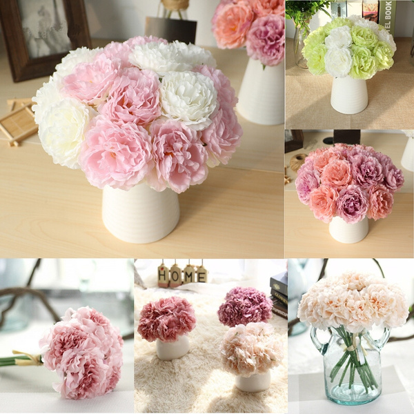 Bouquet  Bridal 5 Heads Silk Flowers Peony Flower Home Wedding Decor 1 Bouquet