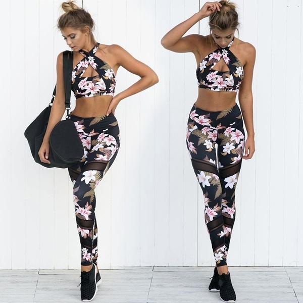 01631b226b1b5 New Women's Fashion Plants Printed Stitching Mesh Tight Long Yoga ...