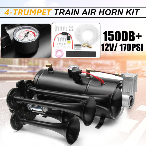Air Compressor 150dB With 12V 3-Trumpet Train Air Horn Kit 150 PSI Air System