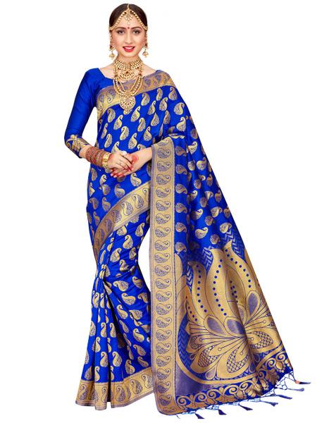 f89b9d5fa Elina Fashion Indian Sarees for Women Banarasi Art Silk Woven Saree ...