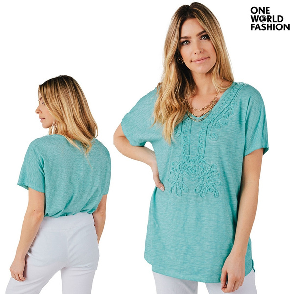 ONE WORLD Women Fashion Casual Short Sleeve V Neck Solid Color Shirt ...