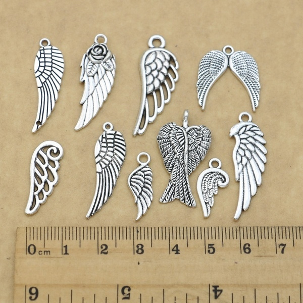 10pcs Alloy Large Angel Wings Charms Pendants Jewelry Findings Accessories