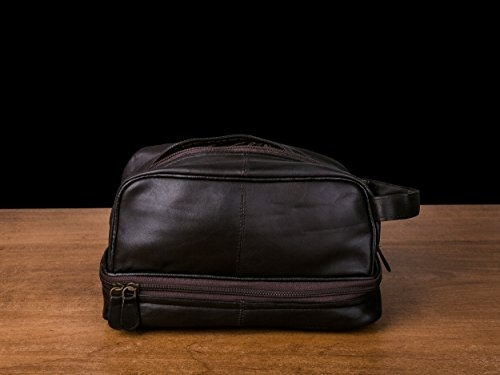 Dwellbee Classic Leather Toiletry Bag and Dopp Kit French Morocco Leather Black