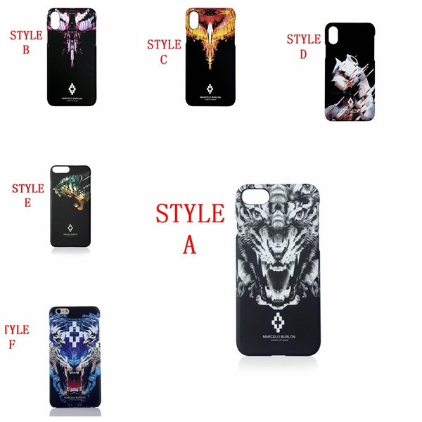 nuova collezione 363c0 c5d93 Retail Box Animal Case for iPhone8 7Plus Marcelo Burlon Cases Lion Tiger  Hard PC Cover for iPhone 6 6S 7 8 Plus Marcelo Covers