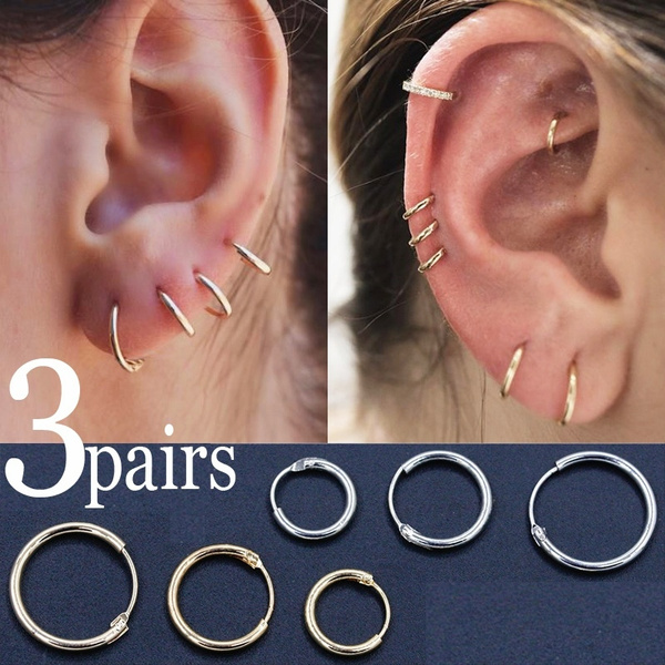 3pairs Simple Vintage Circle Small Hoop Earrings Set Women Punk Personality Earring Trendy Causal Party Jewelry Set Accessories Gift by Wish