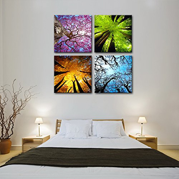 4 Panels Canvas Wall Art Spring Summer Autumn Winter Four Seasons Landscape Color Tree Painting Picture Prints Modern Giclee Artwork Stretched And