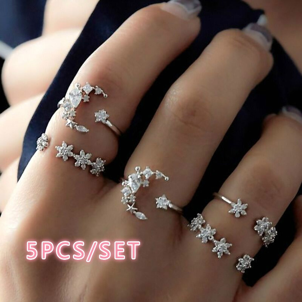 Sterling, crystal ring, Star, 925 silver rings