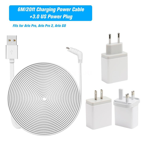 6M/20ft Charging Powe-r Cable Fits for Arlo Pro, Arlo Pro 2, Arlo GO  Weatherproof Indoor/Outdoor Flat Cable Aluminium Alloy Micro USB Cable