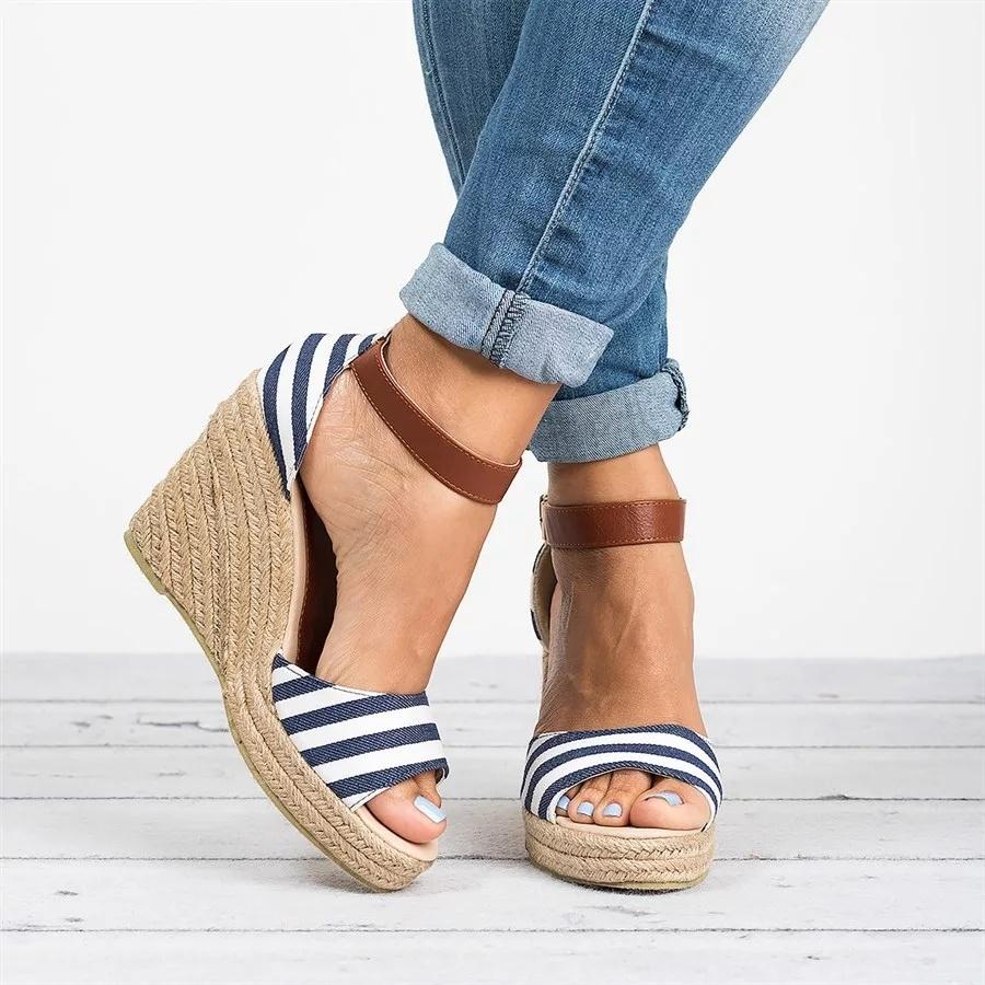 Casual Sandale Talon Forme D Chaussures Strap Plate Sandal Nouveau Mignon Femmes Dames Stripe Mode Cheville Feminino Compensé Espadrille Été Open 8N0mvnw