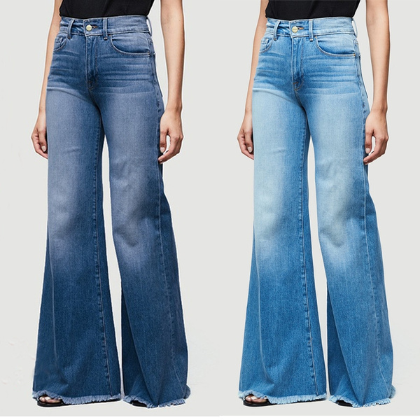 Womens Denim Jeans Flare Trousers Wide Leg Bell Bottom High Waist Pants Trousers