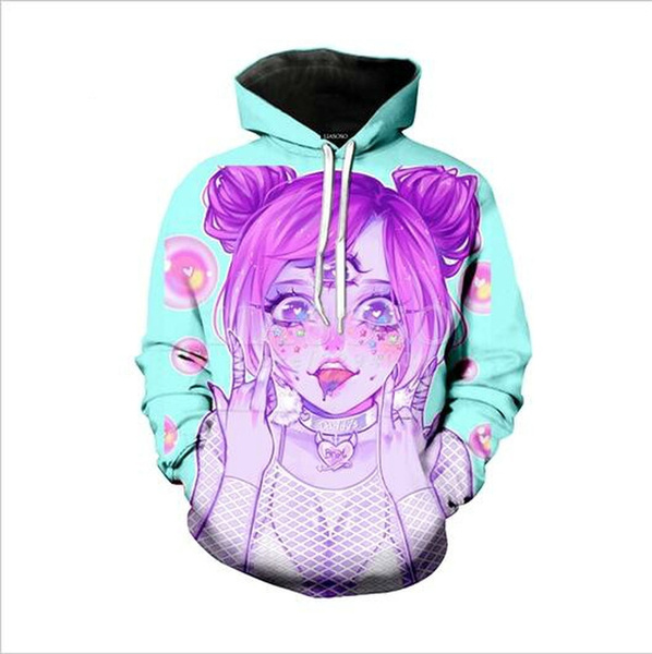 Men Women Fashion Anime Ahegao Funny 3D Print Pullover Cool Hoodie Jacket New