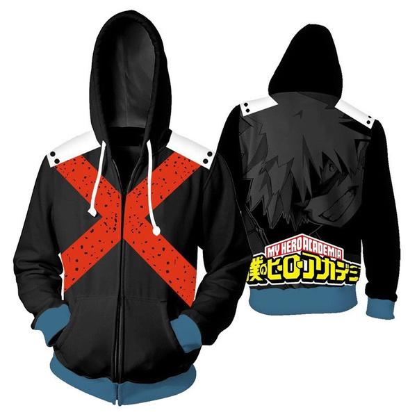 My Boku no Hero Academia Pullover Hoodie Bakugou Katsuki Cosplay Sweatshirt Zip