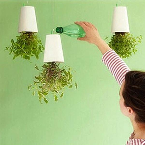 Wish & Garden Home Office Hanging Plant Pot Plastic Upside Down Flower Pots Sky Planter Creative Supplies for Indoor Decoration