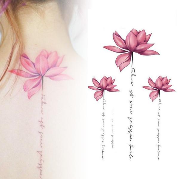 Womens Waterproof Temporary Pink Lotus Flower Body Art Tattoo