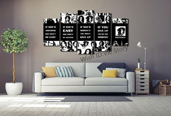 Wish 5 Panels Reggae Music Poster Bob Marley Quotes If Shes
