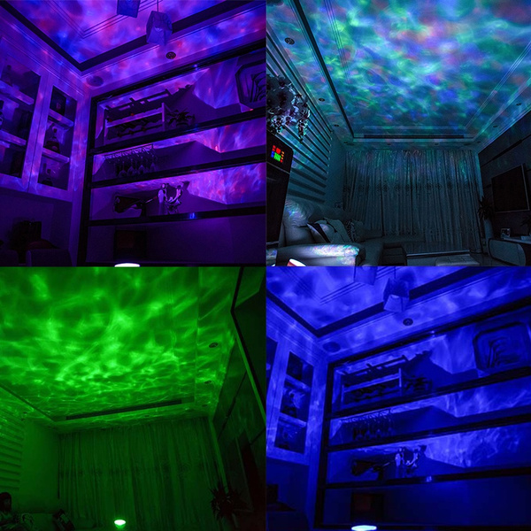 7colors Led Night Light Starry Sky Remote Control Ocean Wave Projector With Mini Music Novelty Baby Lamp Night Lamp For Kids Led Night Lights