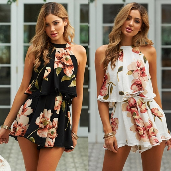 fe50be9a905c9 Fashion Women Sexy Floral Printed Two Piece Sets Beach Wear Playsuits For  Ladies