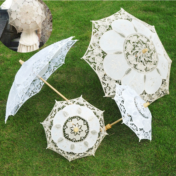 dc5fb3fc82ff Fashion Vintage Lady Handmade Cotton Parasol Lace Chic Elegant ...
