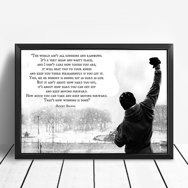 Unframed Printed Poster Rocky Balboa Motivational Quotes Canvas Modern Oil Art Painting Home Wall Decal Photo 50 X 70 Cm