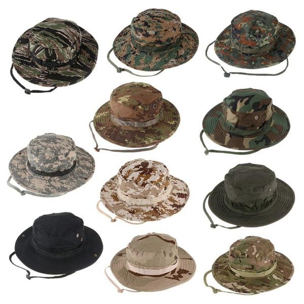 00c15972 Camouflage Hunter Hat Sniper Hidden Jungle Sports Ripstop Combat Caps Wide  Brim Bucket Hat Camo Army Military Boonie Bush Jungle Sun Hat Camping  Hiking ...