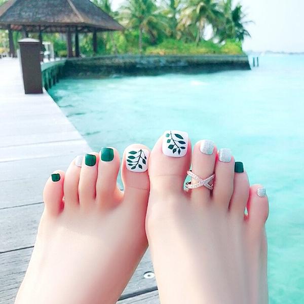 Wish | 24 x leaves false fake artificial toe nails tips toe nail ...