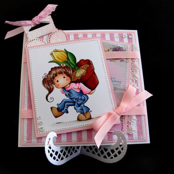Paper Embossing DIY Crafts Cutting Dies Girl Clear Stamps Stencils Scrapbooking