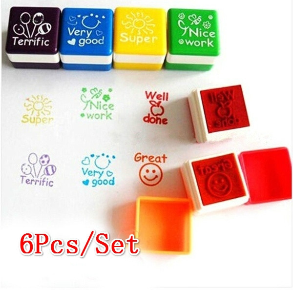 6Pcs/Set Teachers Stamper Praise Reward Stamps Sticker DIY English  Encourage Words Ink Pad Stationery Party Gift Christmas