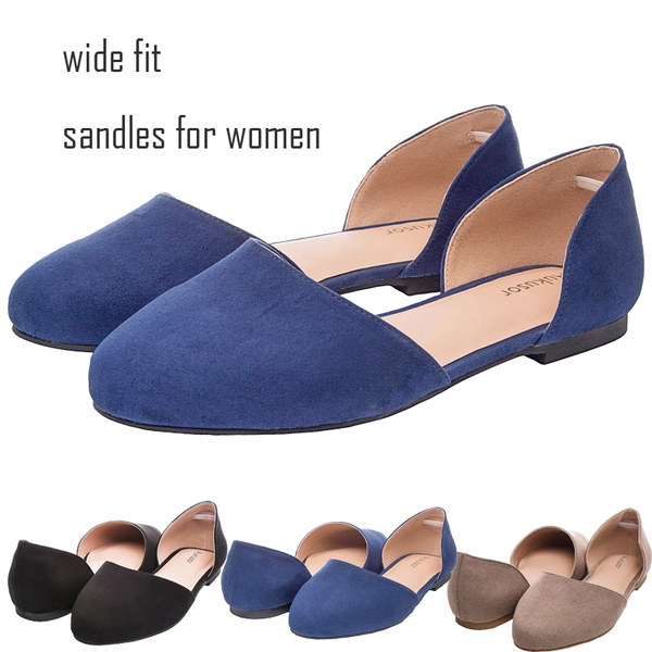 fa5007ff2a Aukusor Women s Wide Width Ballet Flat - Comfortable Sandals Slip On Closed  Toe Casual Summer Shoes.