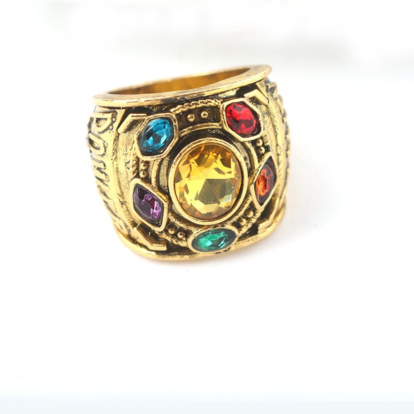 5e3fb94296add L443 Infinity Gauntlet Power Ring Avengers:Infinity War Thanos Jewelry  Handstamped Letter Ring with Crystals for Men