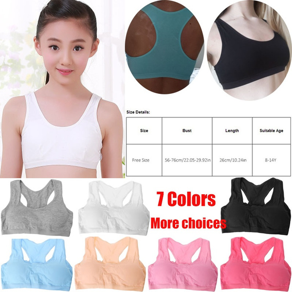 d9d15ffe9 8-14 Years Cotton Young Girls Kid Underwear Sport Wireless Teenagers  Training Bra Little Girls Bras Puberty Bras for Teens Small Vest Fashion  Young Girls ...