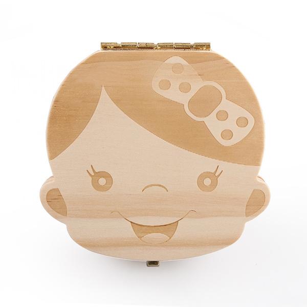 Kids Tooth Box For Boy Girl Organizer Baby Save Milk Teeth Wood Storage Box