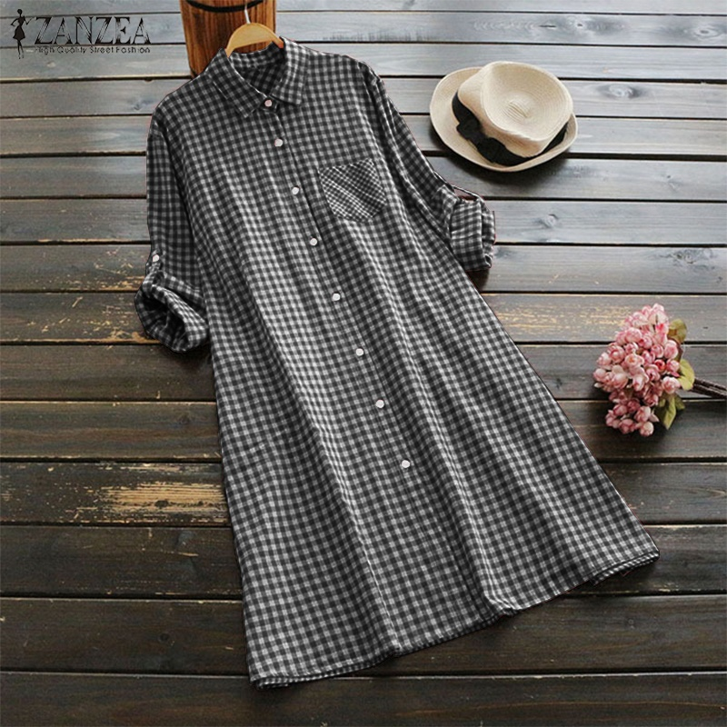 97405ee0ee03ea zanzea Women Plus Size Tunic Button Down Long Top Plaid Check Shirt Dress