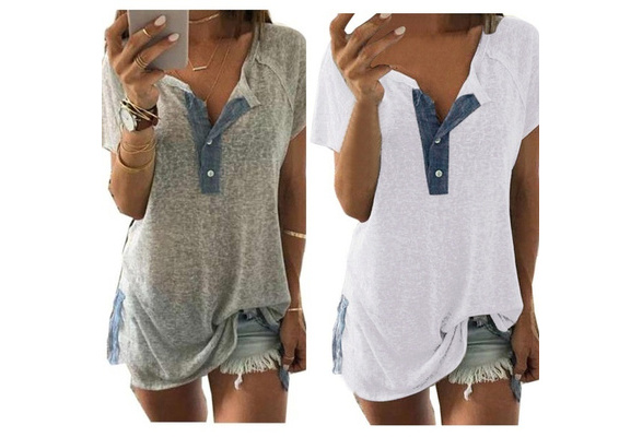 New Fashion Women Cotton Short Sleeve Loose Casual Button Blouse T Shirt Tank Tops