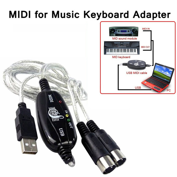 LED Indicator Instrument Adapter Audio Equipment MIDI To USB Cable IN-OUT  Interface Music Editor Cord PC To Music Keyboard Converter