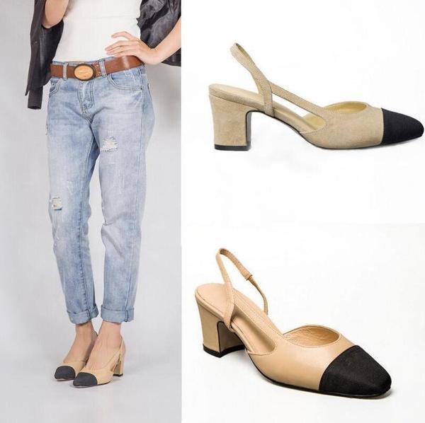 5da7af838 Women's Mid-Heel Sandals Two-tone Leather Slingbacks Sandals Block heels  Pumps Office Shoes For Women   Wish