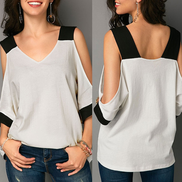 3c3f866e0b8db Women Summer Cold Shoulder Patchwork V Neck T Shirt Blouse